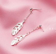 Oorbellen S925 Long Feather -silver